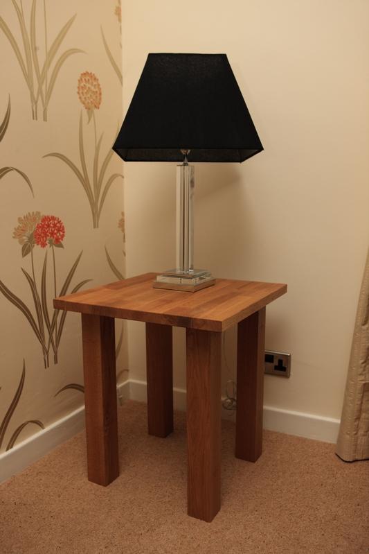 Bespoke oak lamp table