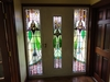 Bespoke front door frame and door made to show off the stained glass